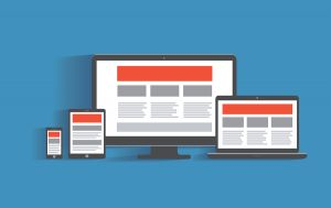 Responsive web design concept. Desktop computer, tablet pc, lap